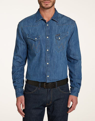 Shirts - Men - WRANGLER - WESTERN SHIRT - Indigo - Regular Fit