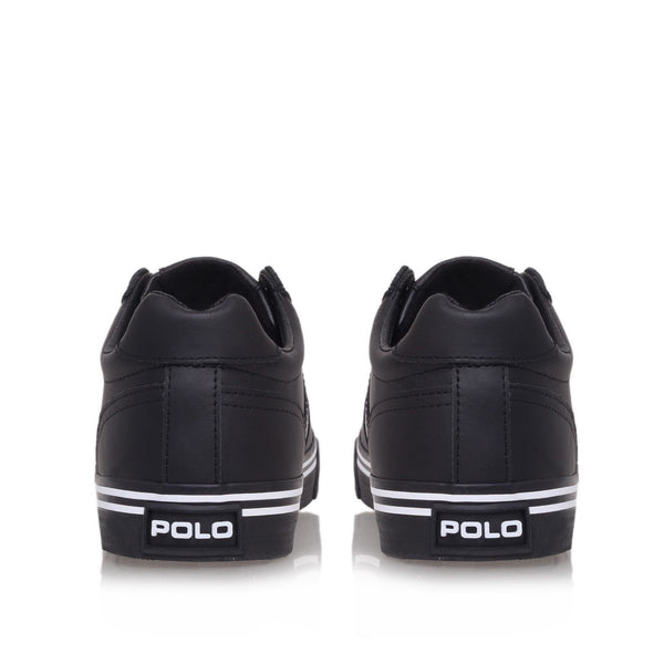Shoes, Canvas Shoes - Ralph Lauren Hanford Black Leather Trainers