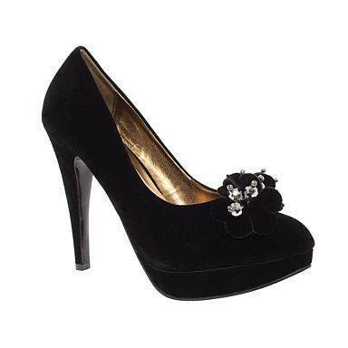 Shoes - Ladies - Black Platform Court Shoes - Black