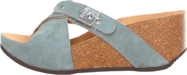 Shoes - Ladies - Dr Scholl -Elon- Ladies Wedge Slipper - Denim Blue Suede