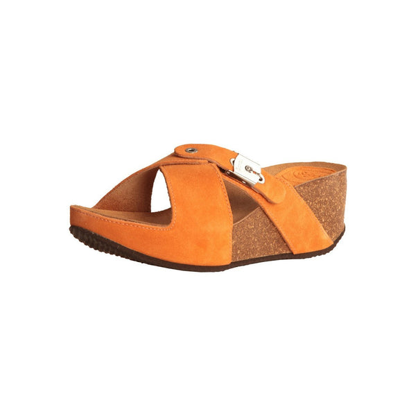 Shoes - Ladies - Dr Scholl -Elon- Ladies Wedge Slipper - Orange Suede
