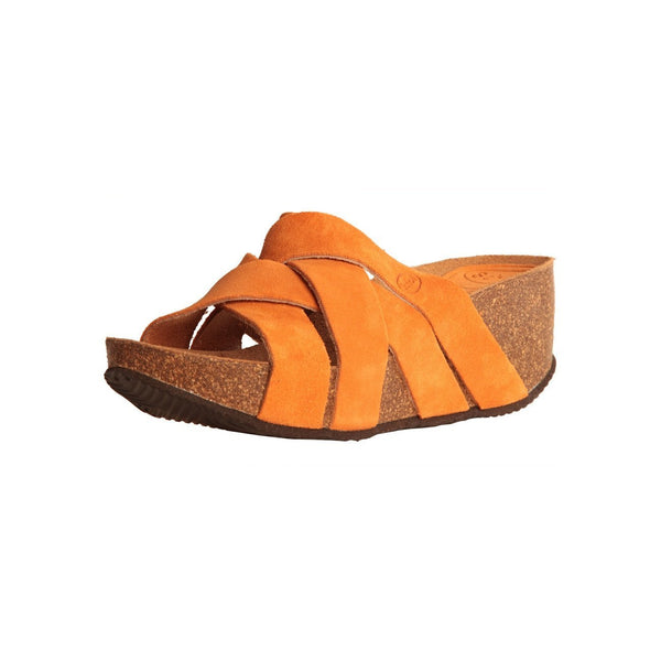 Shoes - Ladies - Dr Scholl -ERULA- Ladies Wedge Slipper - Orange Suede