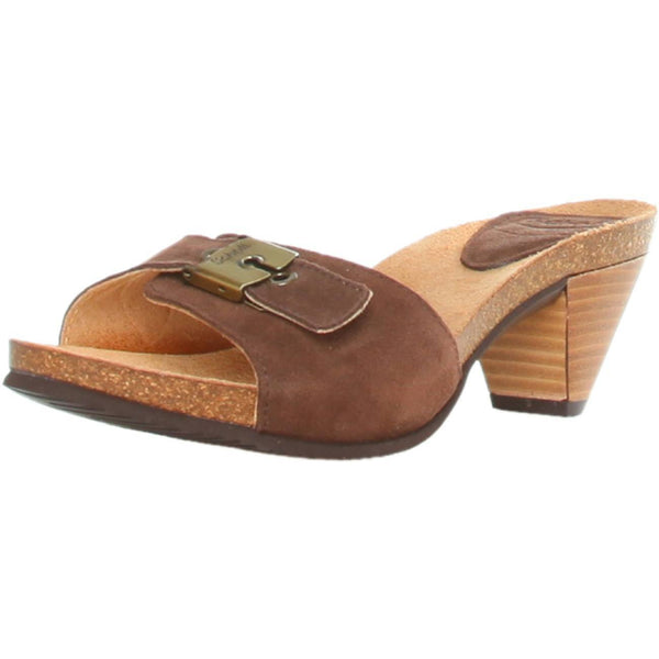 Shoes - Ladies - Dr Scholl -EST- Ladies Clog Slipper - Brown Suede