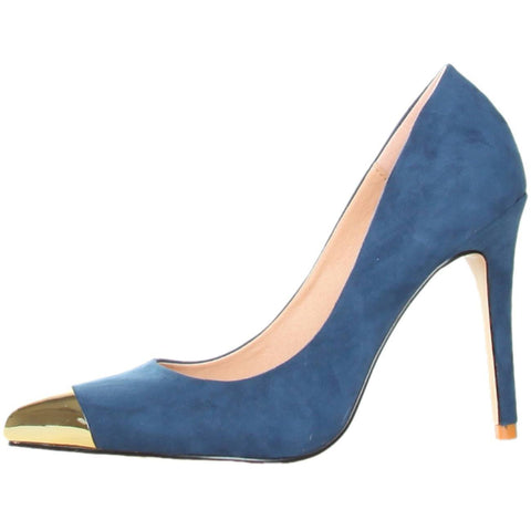 Shoes - Ladies - GAS AVALANCHE Suede High Heel Shoes - Navy Blue