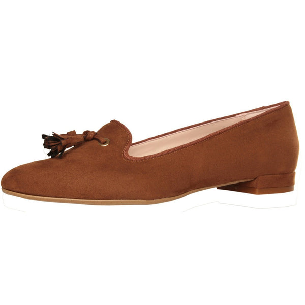 Shoes - Ladies - MADE IN ITALIA Tasselled Loafers - Brown Suede