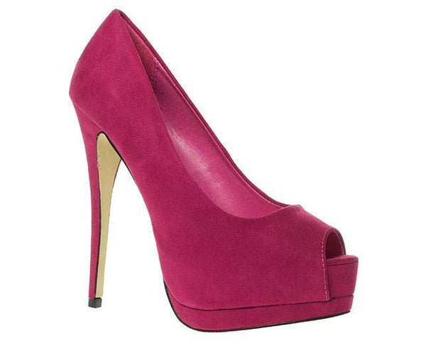 Shoes - Ladies - Peep Toe Platform Court Shoes - Suede Fuchia