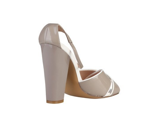 Shoes - Ladies - PRIMADONNA Heeled Glossy Sandals - Taupe/White