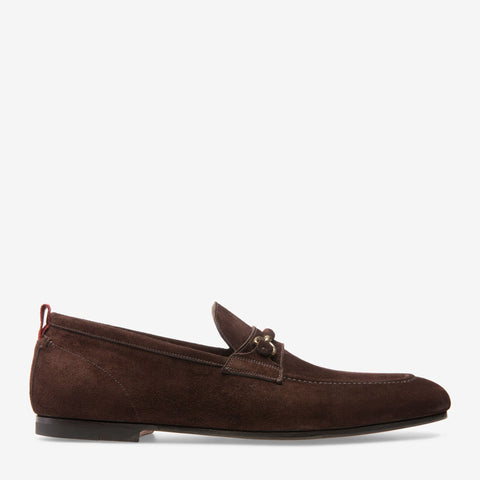 Shoes Men - BALLY PLINTOR - CALF SUEDE HORSEBIT LOAFER - COFFEE