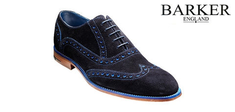 Shoes Men - Barker Grant Brogue Wingtip - Suede Navy/Blue