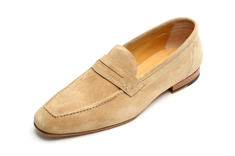 Shoes Men - Francesco Benigno Italian Hand Stiched Suede Loafer - Beige