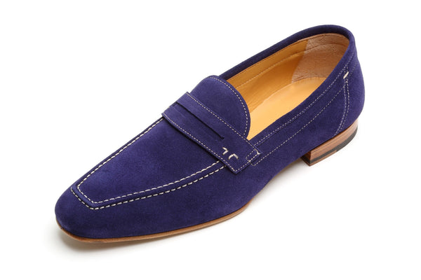 Shoes Men - Francesco Benigno Italian Hand Stiched Suede Loafer - Blue