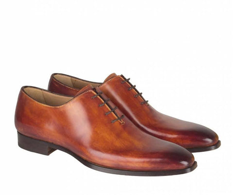 Shoes Men - Francesco Benigno Italian Wholecut Shoes - Brandy
