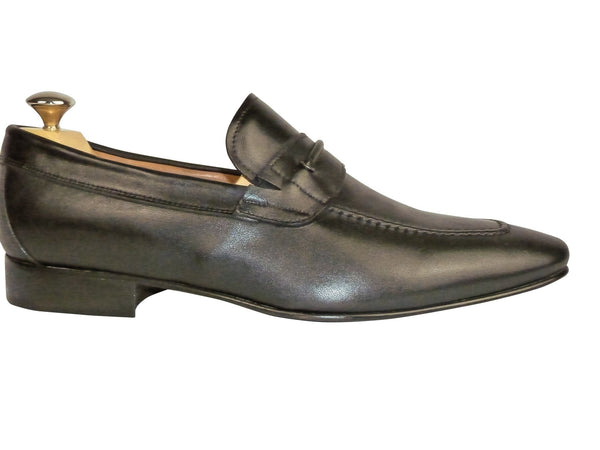 Shoes Men - Italian Black Vitello Shoe - Maurizio Bellini