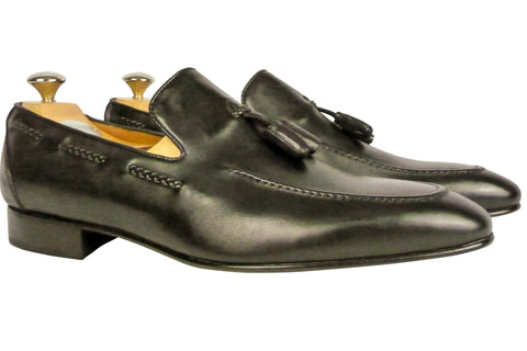 Shoes Men - Italian Black Vitello Tassled  Shoe - Maurizio Bellini