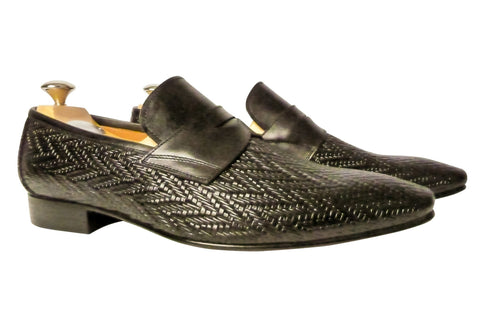 Shoes Men - Italian Black Woven Vitello Shoe - Maurizio Bellini