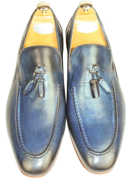 Shoes Men - Italian Blue Vitello Tassled  Shoe - Maurizio Bellini