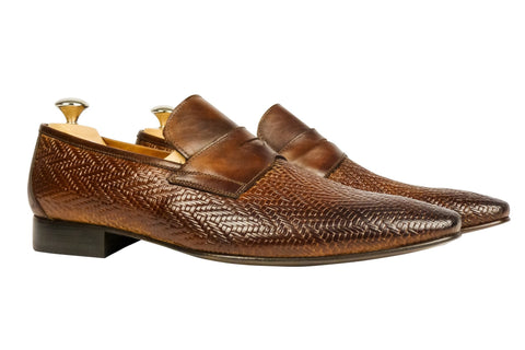 Shoes Men - Italian Cognac Woven Vitello Shoe - Maurizio Bellini