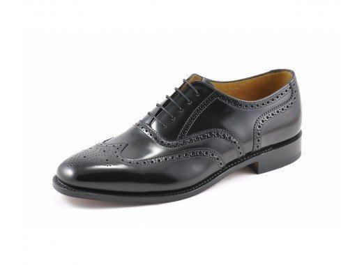 LOAKE  202B Polished Brogue - Black - RTD - Side View