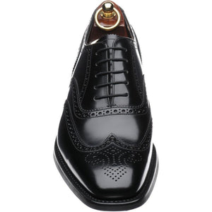LOAKE 262B Brogue Oxford shoe - Black Pollished - Front/ Top View