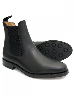 LOAKE Blenheim Chelsea Boots - Black Wax - Side View/ Sole