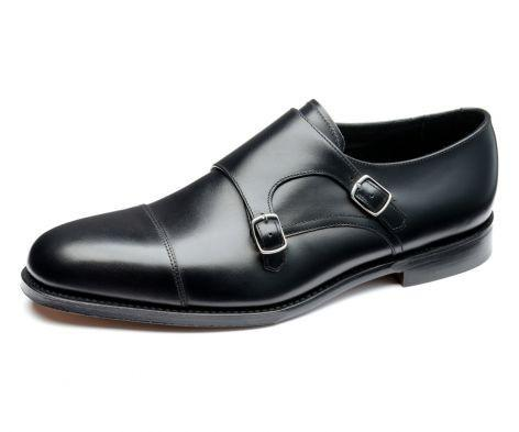 LOAKE Cannon Calf Double Buckle Monk Shoe - Black - Body View