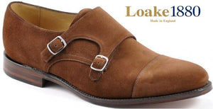 LOAKE Cannon Calf Double Buckle Monk Shoe - Dark Brown - Angle View
