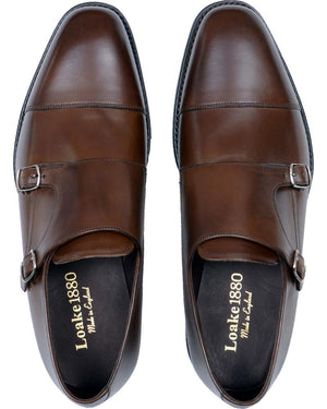 LOAKE Cannon Calf Double Buckle Monk Shoe - Dark Brown - Top View