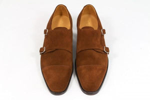 LOAKE Cannon Calf Double Buckle Monk Shoe - Dark Brown - Front View