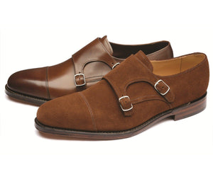 LOAKE Cannon Calf Double Buckle Monk Shoe - Dark Brown - Side Views