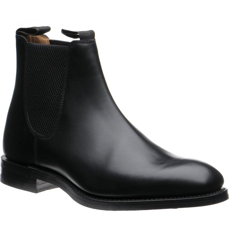LOAKE Chatsworth Chelsea boot shoe - Black calf - Angle View