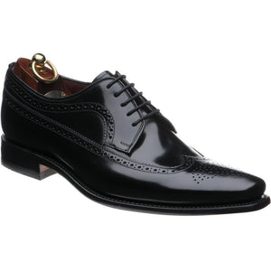 LOAKE Clint Brogue Derby shoe - Black Polished - Angle View