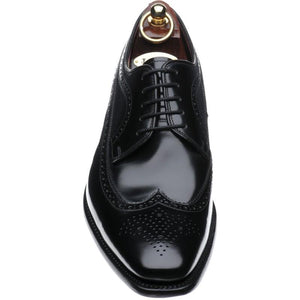 LOAKE Clint Brogue Derby shoe - Black Polished - Front View