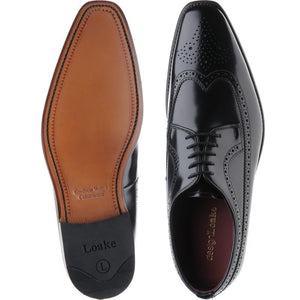 LOAKE Clint Brogue Derby shoe - Black Polished - Sole/ Top View