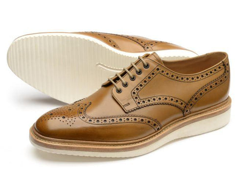 Shoes Men - LOAKE - COBRA Brogue Derby Shoe  - Tan