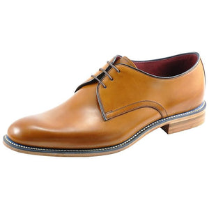 LOAKE Drake Plain Tie Derby Shoe - Tan - Angle View