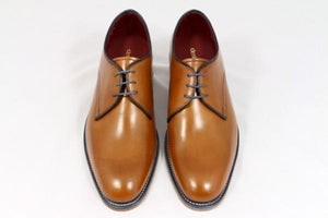 LOAKE Drake Plain Tie Derby Shoe - Tan - Top/ Front View