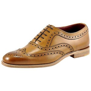 LOAKE Fearnley Stylish Brogue Shoe - Tan - Side View