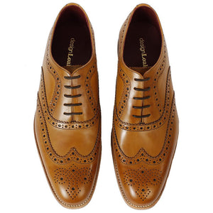 LOAKE Fearnley Stylish Brogue Shoe - Tan - Front/Top View