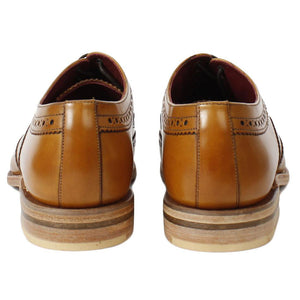 LOAKE Fearnley Stylish Brogue Shoe - Tan - Back View