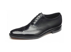 LOAKE Jones Oxford Brogue Shoe - Black - Angle View