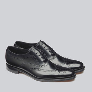 LOAKE Jones Oxford Brogue Shoe - Black - Angle /Top View