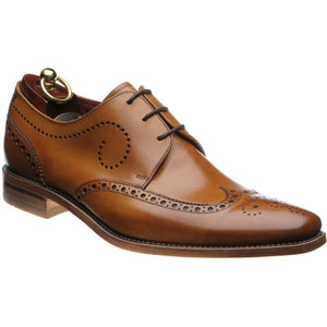 LOAKE Kruger Derby Brogue shoe - Tan Calf -Angle View