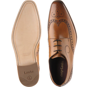LOAKE Kruger Derby Brogue shoe - Tan Calf - Sole/ Top View