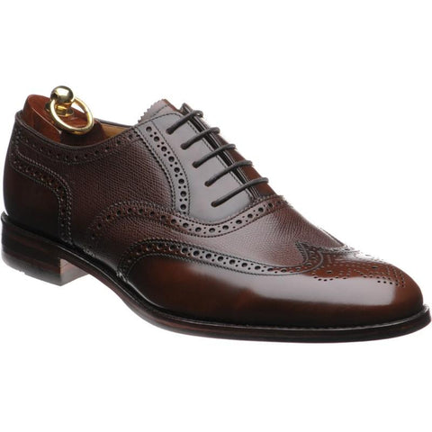 Shoes Men - LOAKE Lowick Oxford Brogue Shoe - Dark Brown Polished And Rain