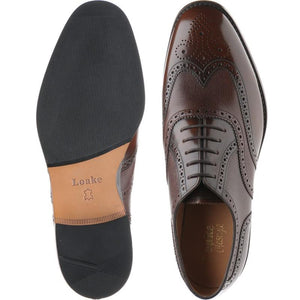 LOAKE Lowick Oxford Brogue shoe - Dark Brown Polished and rain - Ready to Deliver - Ninostyle