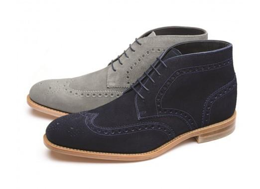 Shoes Men - LOAKE Rogers Derby Brogue Boot - Navy Suede