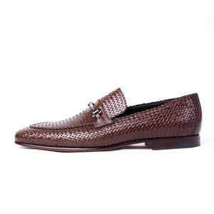 MORESCHI - Cuba Woven kangaroo leather loafers - Brown - Ninostyle