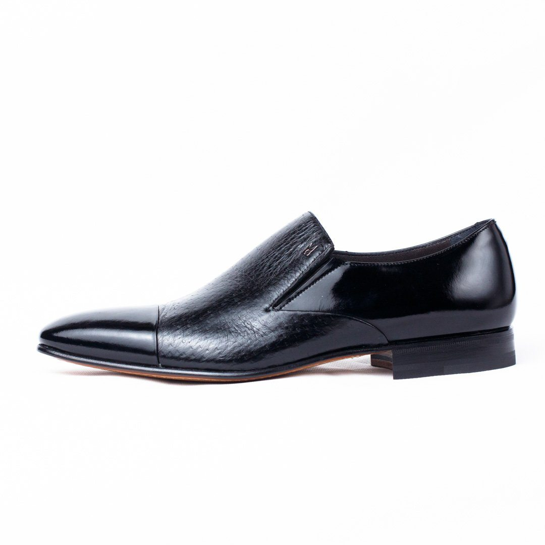 MORESCHI - Metz Calfskin and Peccary leather loafers - Black - Ninostyle