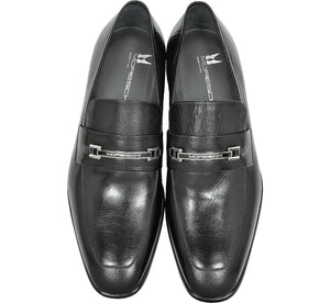 MORESCHI Santiago Signature Buffalo Leather Loafer - Black - Ninostyle