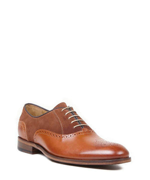 Oliver Sweeney Tondela Leather & Suede Brogue - Chestnut - Ninostyle